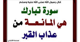 بالصور هل سورة الملك تمنع عذاب القبر 65d530f144965e7eeb1d2aca809c133b 310x165