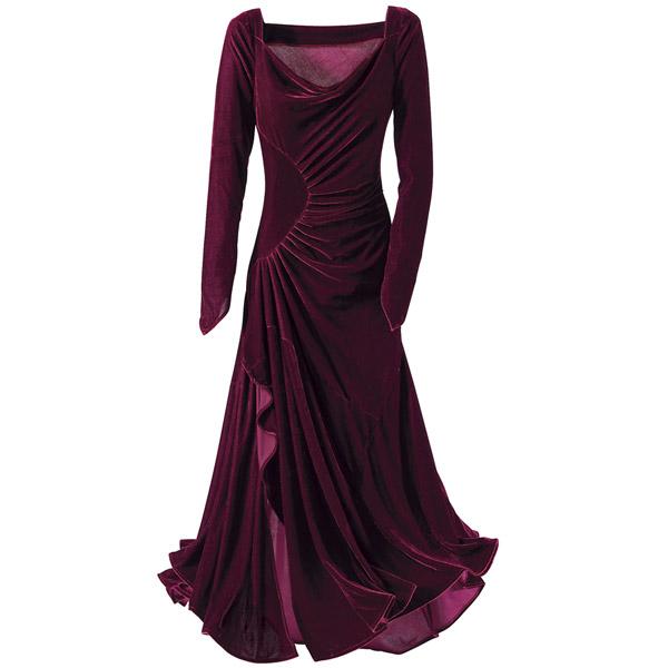 بالصور موديلات فساتين مخمل جديده , صيحه جديده فستان مخملى 13990 2